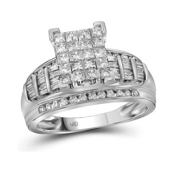 14kt White Gold Womens Princess Diamond Cluster Bridal Wedding Engagement Ring 2.00 Cttw - Size 10