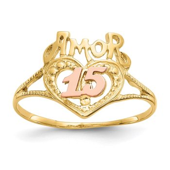 14k Two-Tone Amor 15 Heart Ring