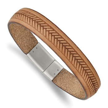 Stainless Steel Polished Tan Italian Leather 8.75in Bracelet