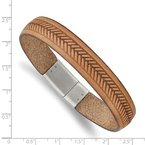 Chisel Stainless Steel Polished Tan Italian Leather 8.75in Bracelet