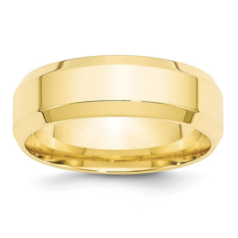Quality Gold 10KY 7mm Bevel Edge Comfort Fit Band Size 10