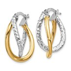 Quality Gold 14K Two-tone Polished/Textured Post Hoop Earring