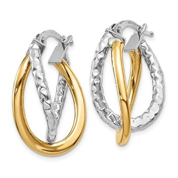 14K Two-tone Polished/Textured Post Hoop Earring