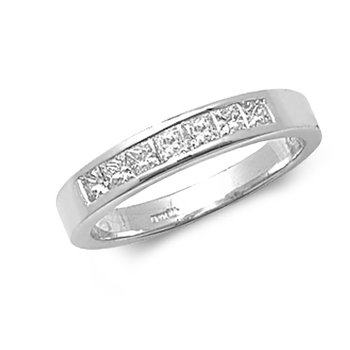 Princess Cut 7 Stone Channel Ring 18k White Gold
