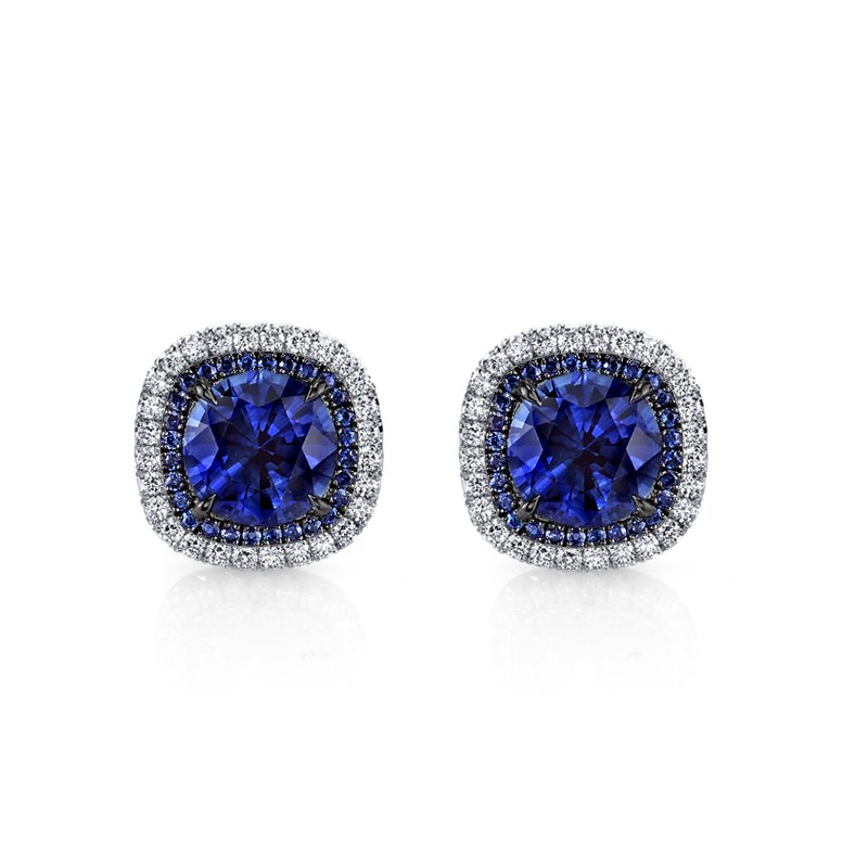 Omi Prive Sapphire & Diamond Stud Earrings