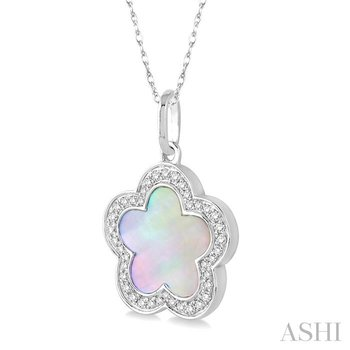 flower shape gemstone & diamond pendant