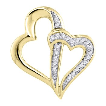 10kt Yellow Gold Womens Round Diamond Double Linked Heart Pendant 1/20 Cttw