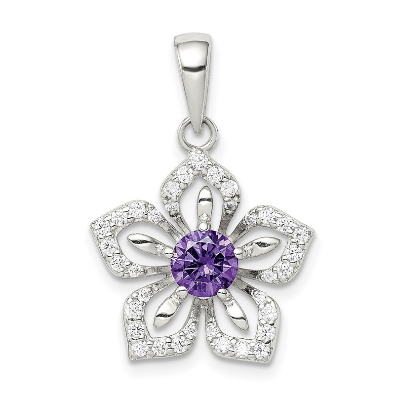 Quality Gold Sterling Silver Purple and Clear CZ Flower Pendant