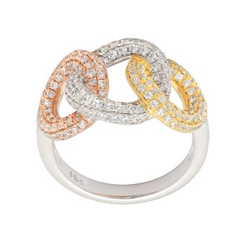 Diamond 3 Circle Tri Color Ring