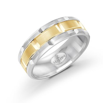 8mm two-tone white and yellow gold brick motif band
