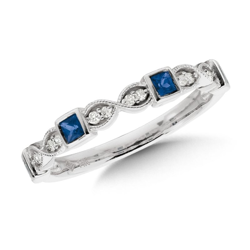 SDC Creations Stackable Sapphire and Diamond Ring in Milgrained 14k White Gold
