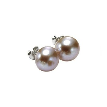 Silver Fresh Water Orange Pearl Studs 4 1/2 mm