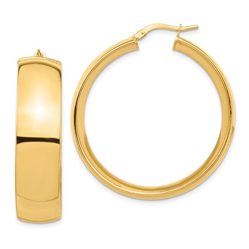 Quality Gold 14k High Polished Large 10mm Hoop Earrings