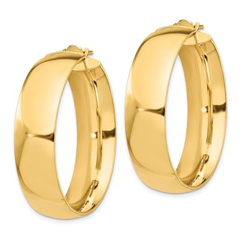 14k High Polished Large 10mm Hoop Earrings