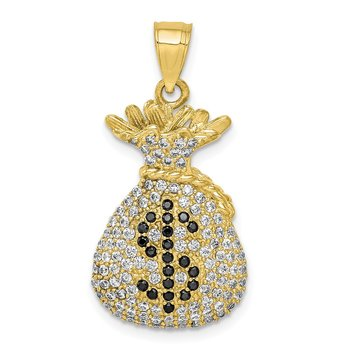 10K Black and Clear CZ Micro Pave Money Bag Pendant