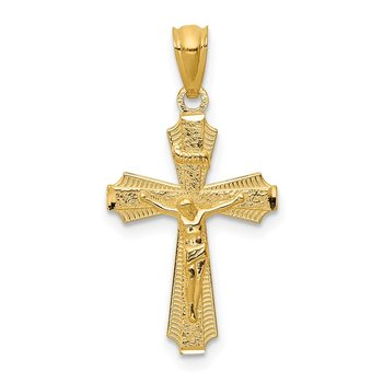 14k Gold Polished Small Passion Crucifix Pendant