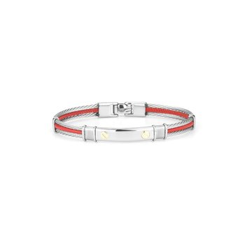 Grey Cable & Red Leather Bracelet with Stainless Steel Station