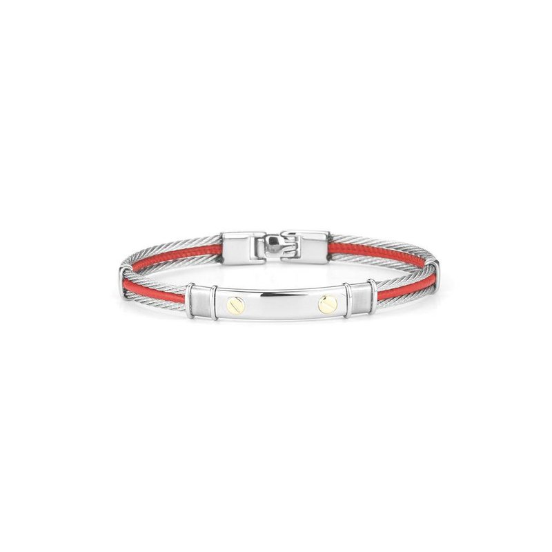ALOR Grey Cable & Red Leather Bracelet with Stainless Steel Station