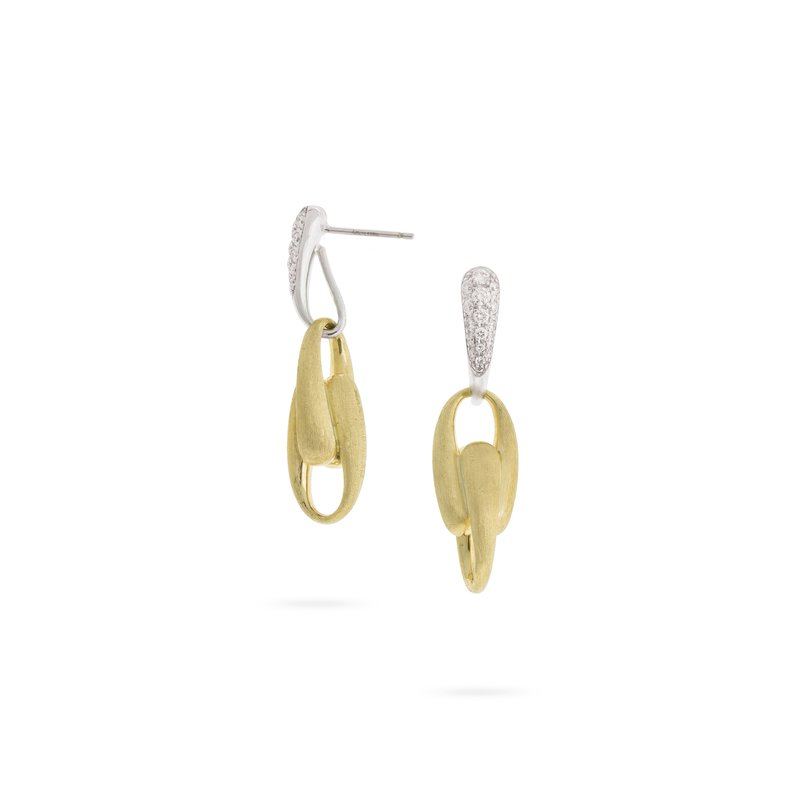 Marco Bicego Marco Bicego® Lucia Collection 18K Yellow Gold and Diamond Link Drop Earrings
