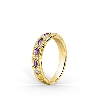 Amethyst Floral Diamond Wedding Band
