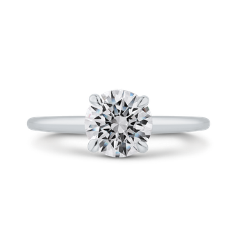 18K White Gold Round Diamond Solitaire Plus Engagement Ring with Milgrain (Semi-Mount)