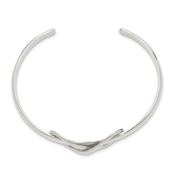 Sterling Silver Polished Infinity Cuff Bangle