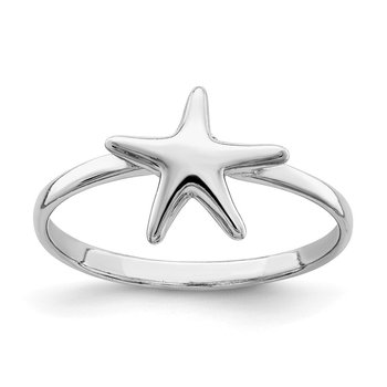 Sterling Silver Rhodium-plated Polished Starfish Ring