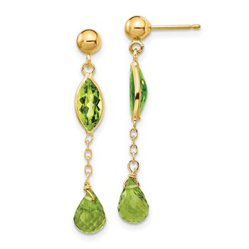 14K Peridot Post Earrings