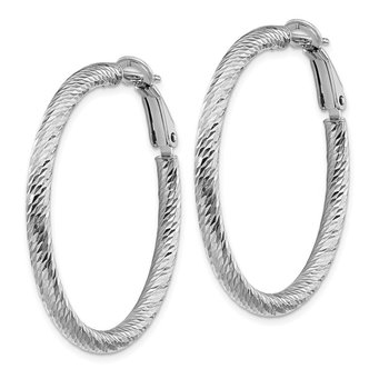 14k 3x30mm White Gold Diamond-cut Round Omega Back Hoop Earrings