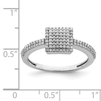 Sterling Silver Rhodium Diam. Square Ring