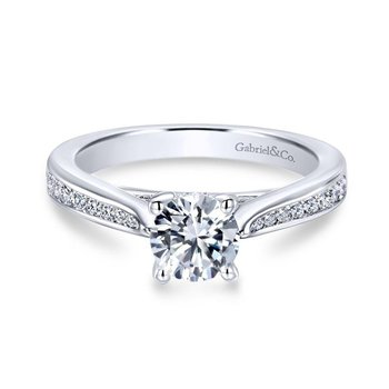 14k White Gold Petite Diamond Channel Engagement Ring