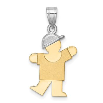 14k Two-Tone Small Boy w/ Hat on Left Engravable Charm