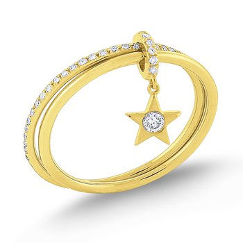 Diamond Lucky Charm Star Ring Set in 14 Kt. Gold