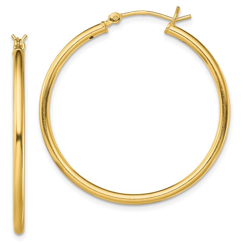 Quality Gold Sterling Silver Gold-Tone Polished 2x35mm Hoop Earrings