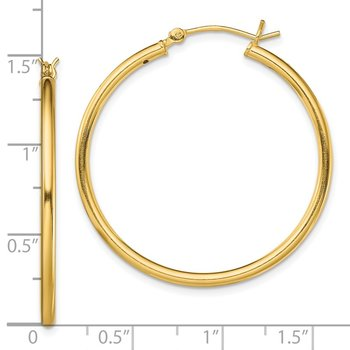Sterling Silver Gold-Tone Polished 2x35mm Hoop Earrings