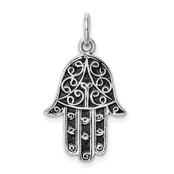 Sterling Silver Rhodium-plated Antiqued Hand Pendant
