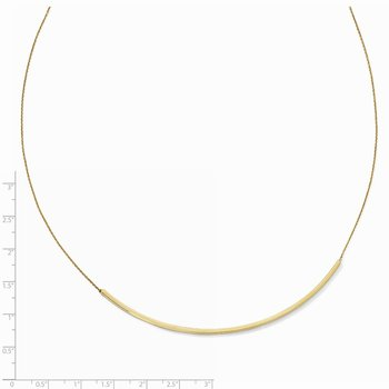 Leslie's 14K Polished Curved 2in ext. Bar Necklace