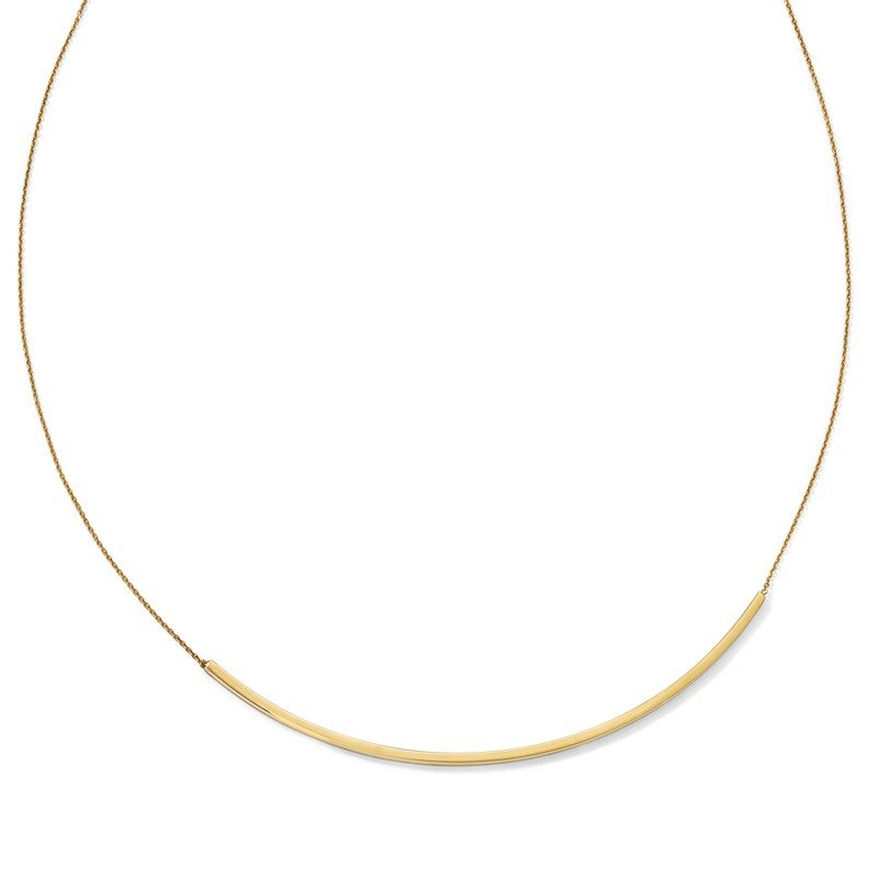 Leslie's Leslie's 14K Polished Curved 2in ext. Bar Necklace