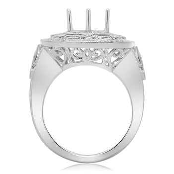 Ornate White Gold Engagement Setting