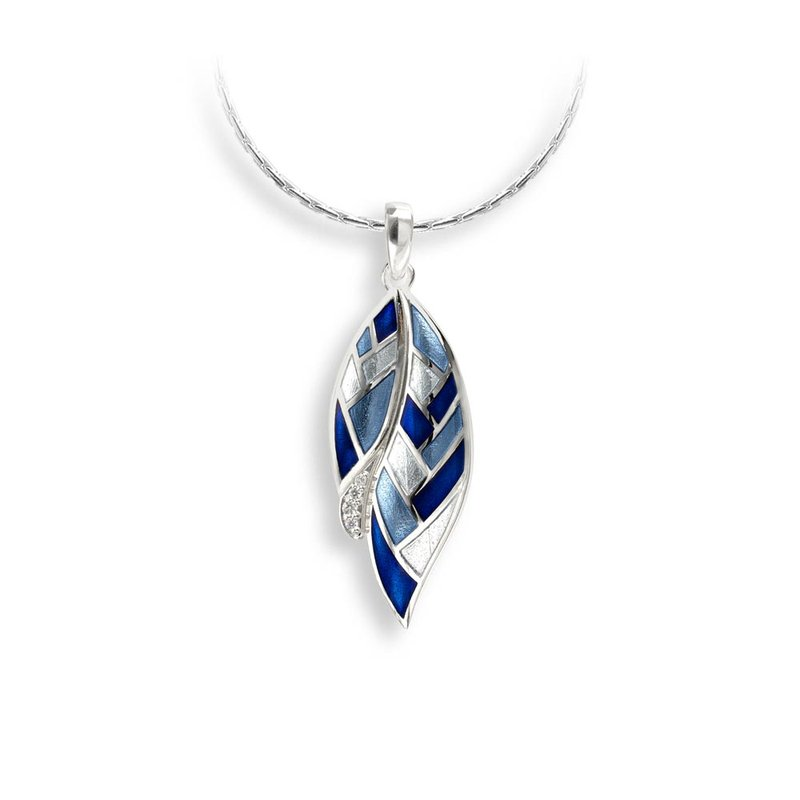 Nicole Barr Designs Blue Harliquin Feather Necklace.Sterling Silver-White Sapphire