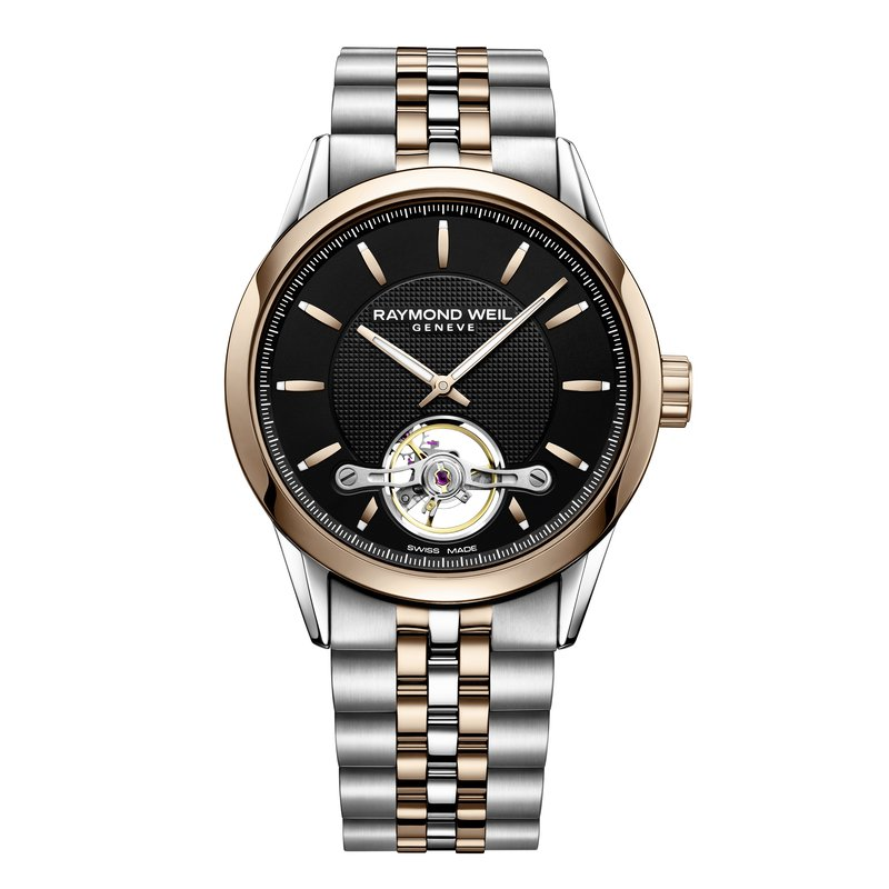 Raymond Weil Automatic open balance wheel, 42mm Calibre RW1212, two-tone, black dial