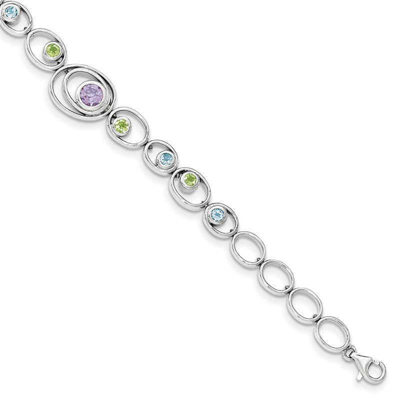 Quality Gold Sterling Silver Rhodium-plated w/Peridot, Blue Topaz &Amethyst Bracelet