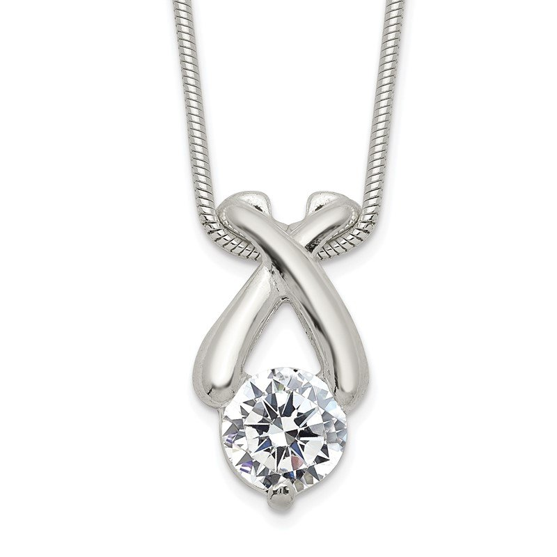 Quality Gold Sterling Silver CZ X-Pendant Necklace