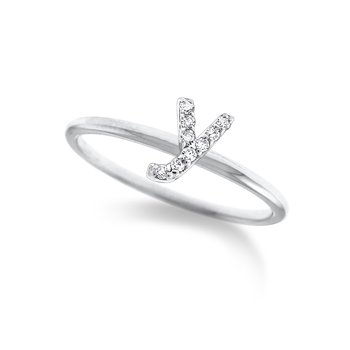 "Diamond Typewriter Initial ""Y"" Ring"