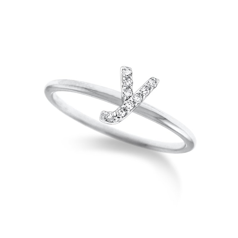"KC Designs Diamond Typewriter Initial ""Y"" Ring"