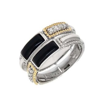 18kt and Sterling Silver Onyx & Diamond Ring