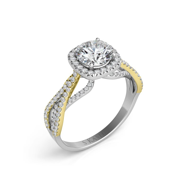 S. Kashi & Sons Bridal Yellow & White Gold Engagement Ring