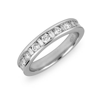14K WG Diamond Wedding Band Rd and Bags 3/4 Ct