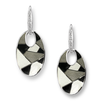 Sterling Silver Harlequin Wire Earrings-Black-White. White Sapphires.
