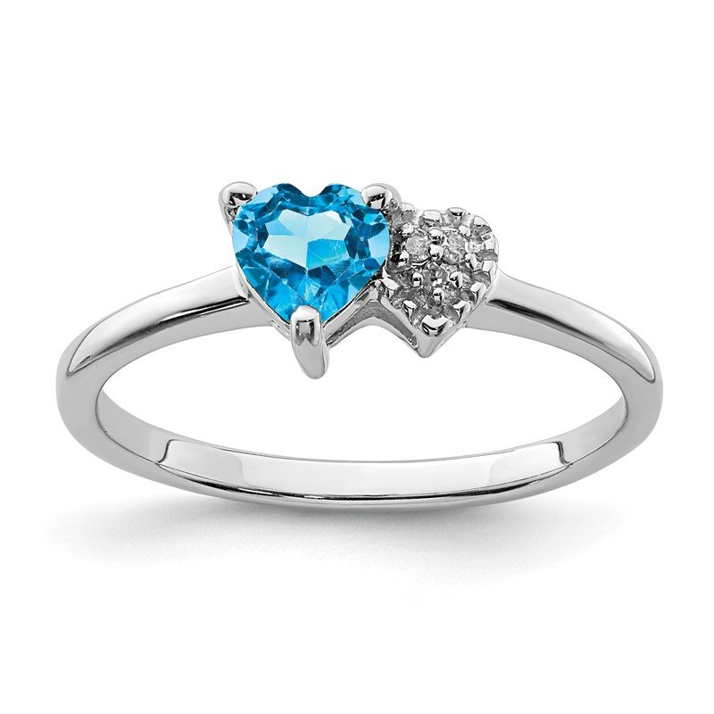 Quality Gold Sterling Silver Polished Blue Topaz and Diamond Ring